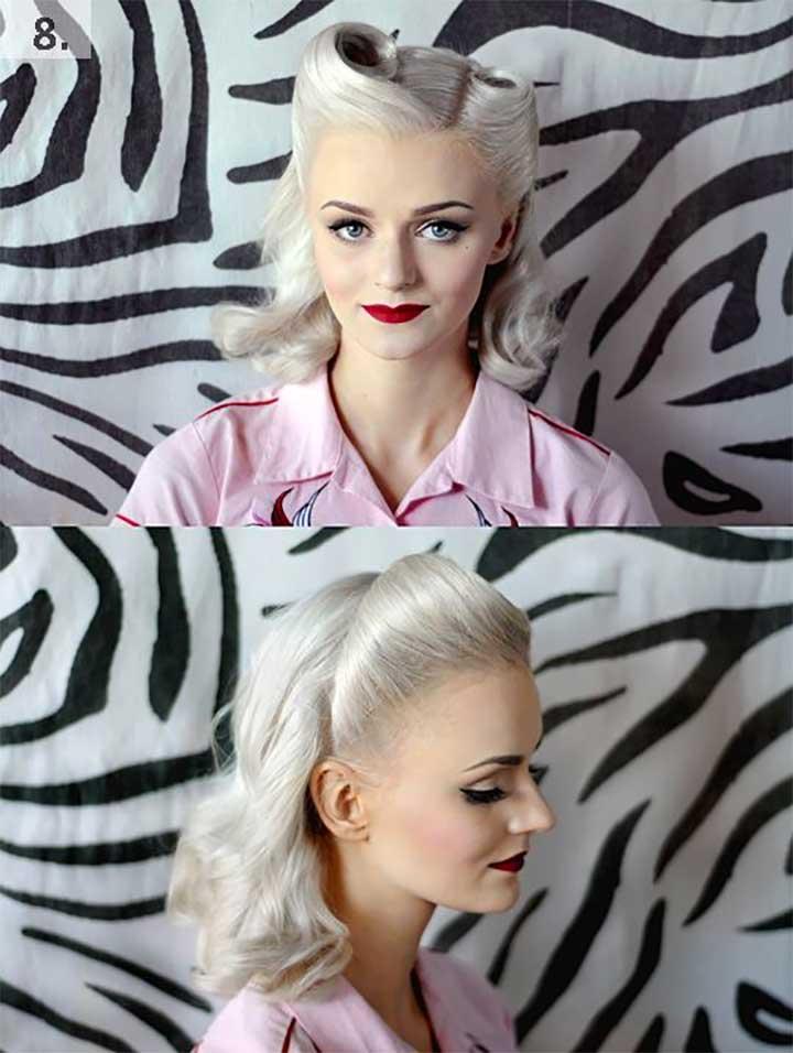 Retro woman with white hair: Retro White Hair
