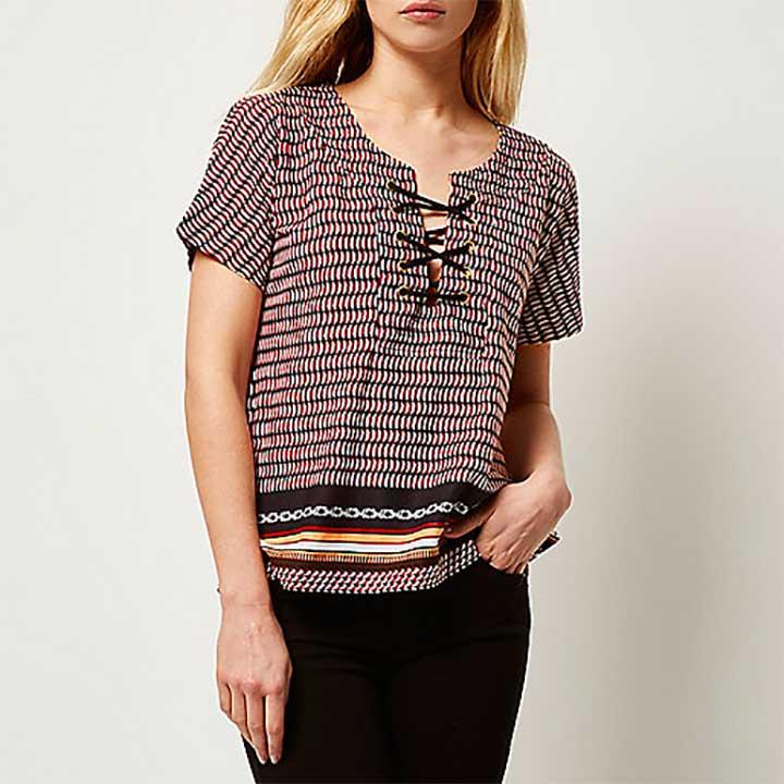 Geometric Print Lace-Up Front T-Shirt, River Island