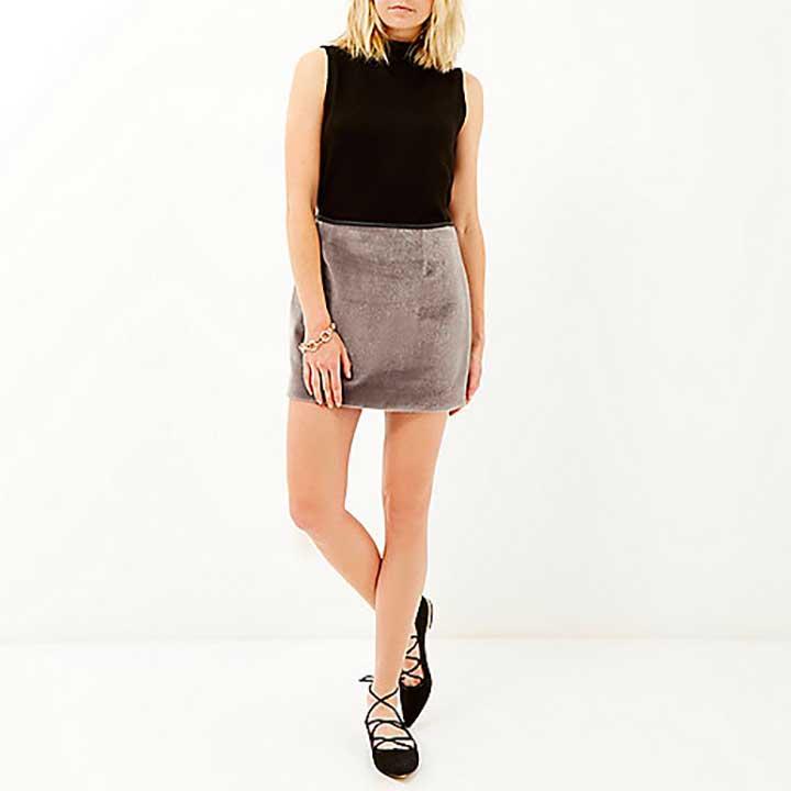 River Island Faux Fur Mini Skirt