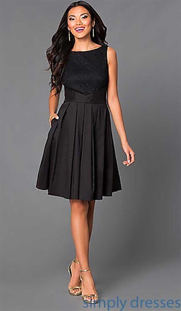 Knee-Length Bateau Neck Party Dress, Simply Dresses