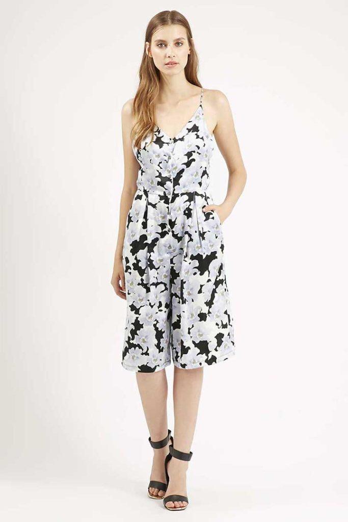 Topshop Floral Culotte Jumpsuit