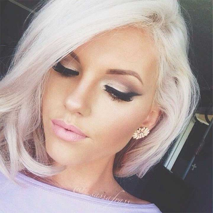 Tousled White Lob Hairstyle
