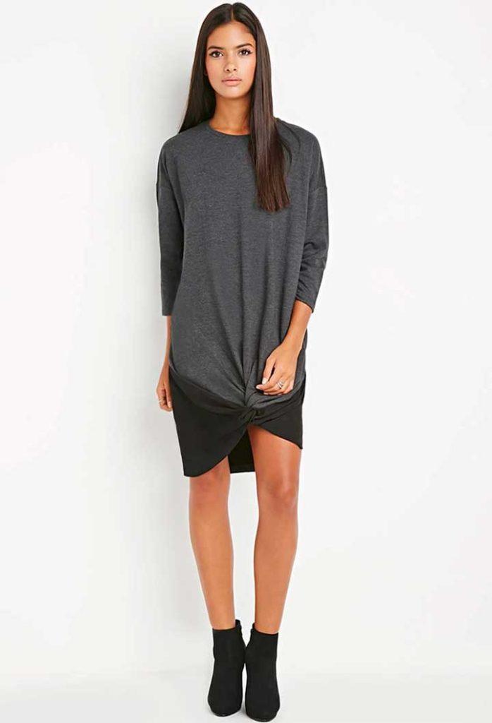 Twisted-Front Sweatshirt Dress