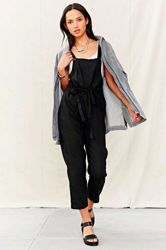 Urban Outfitters Mixed Linen Overalls