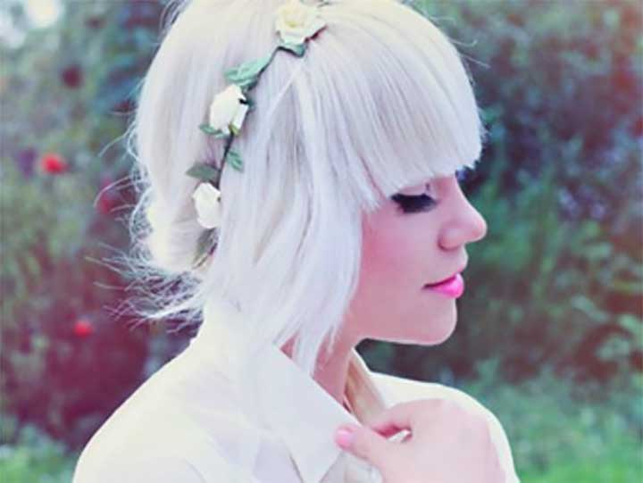 White Hair With A Flower Crown