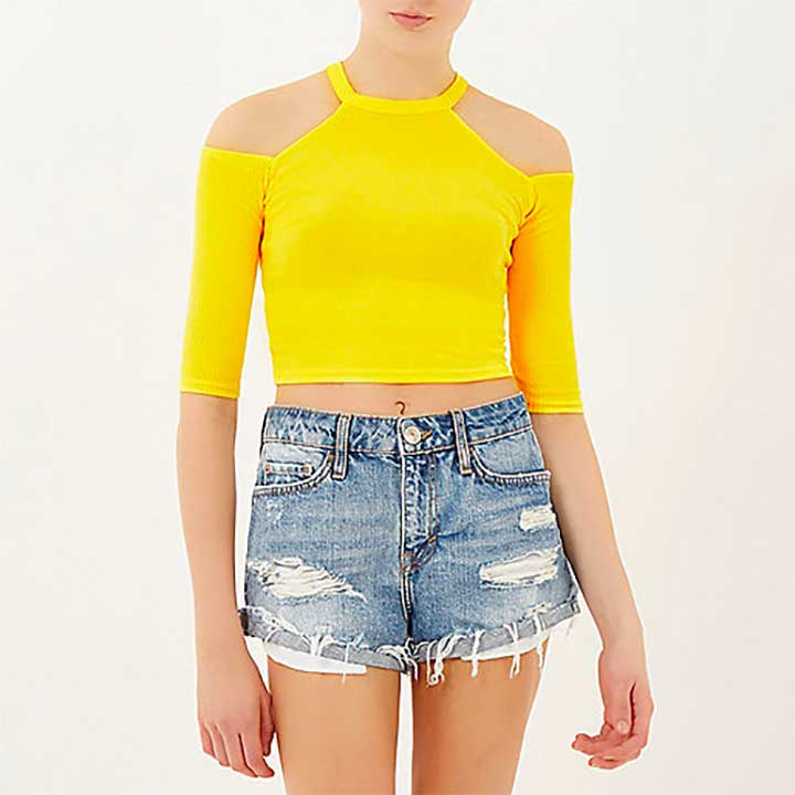 Yellow Ribbed Cold Shoulder Top