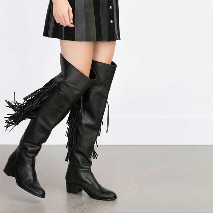 High Heel Leather Boots - Zara Tassel Boots