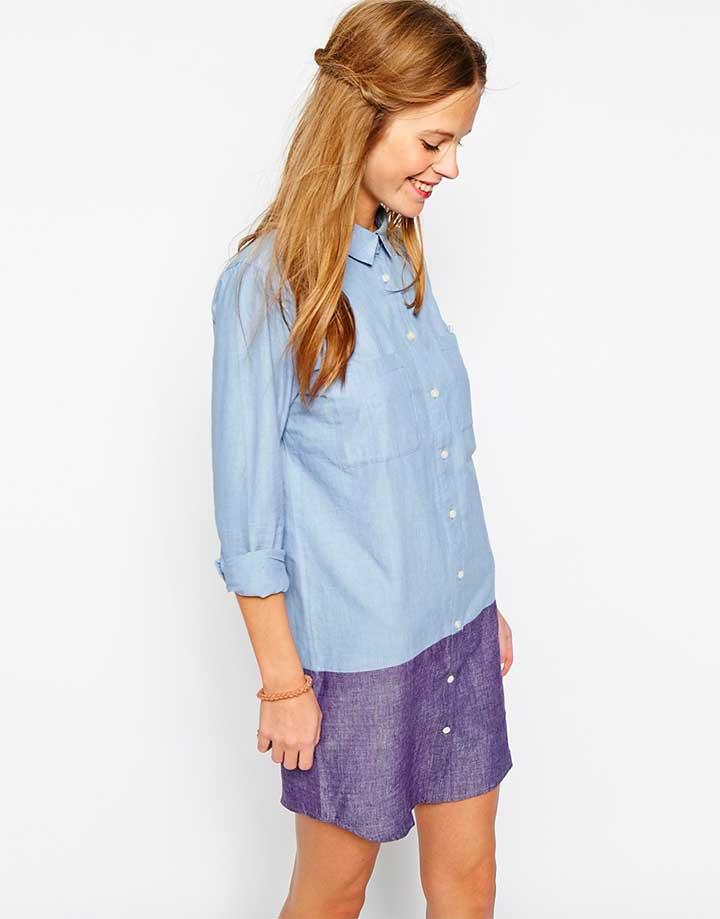 People Tree denim colorblocked shirt dress