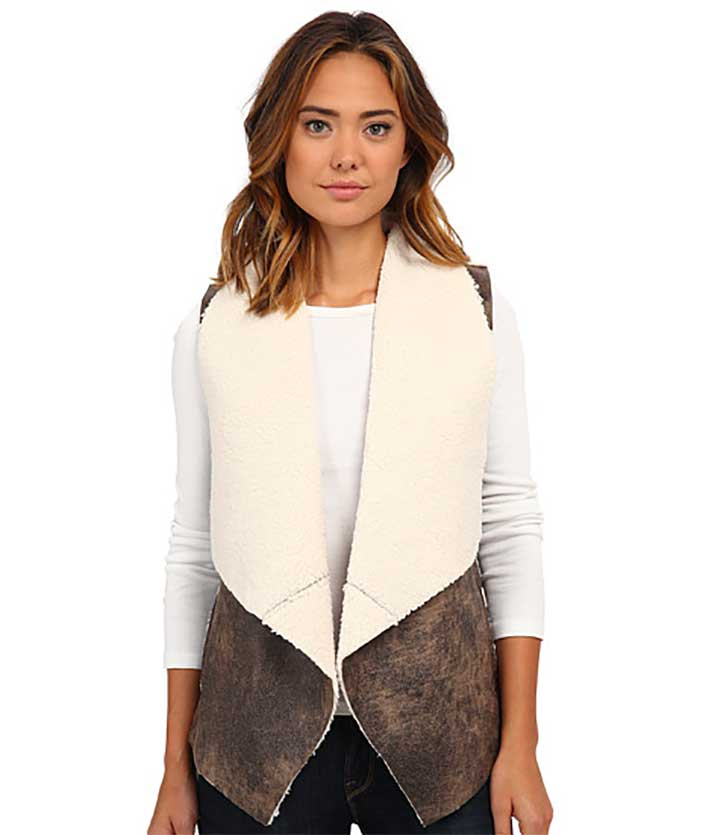 Jack By BB Dakota Dobry Crackle Faux Suede and Shearling Vest