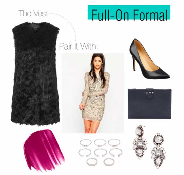 formal faux fur vest
