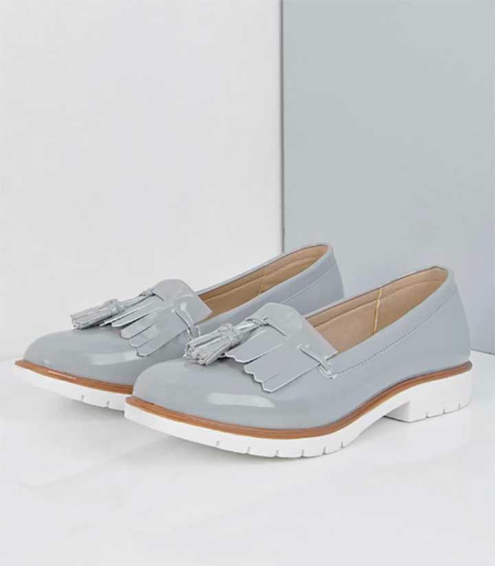 fringe patent loafer