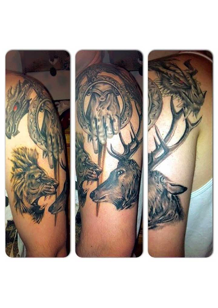 game of thrones tattoo dragon lion wolf