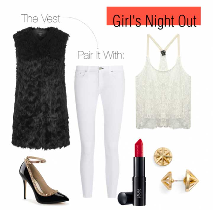 girl's night out faux fur vest
