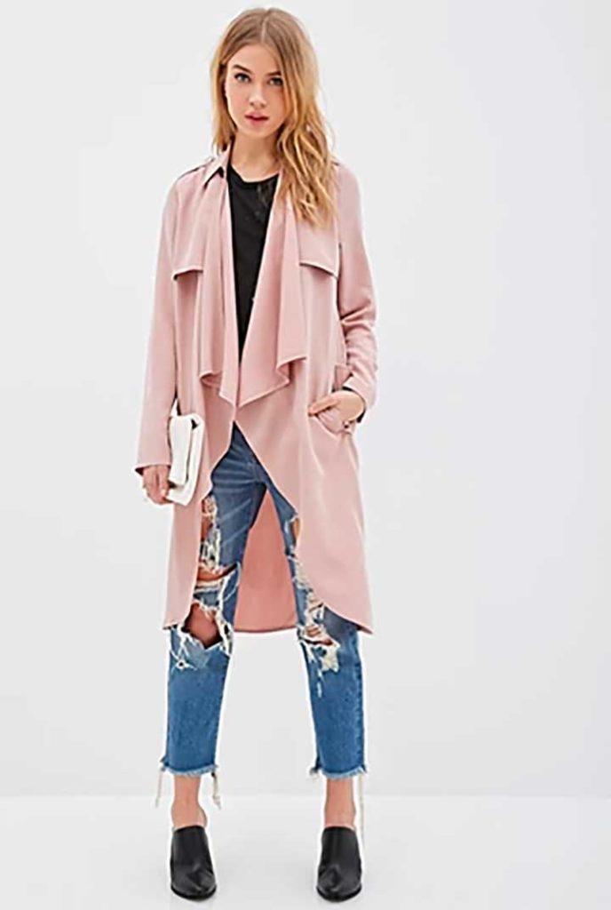 longline draped open jacket