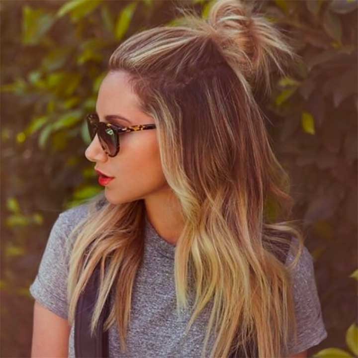 Half-up top knot hairstyle