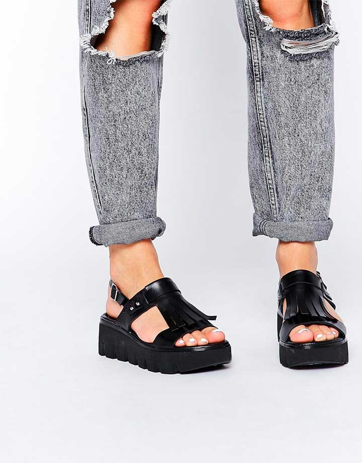 ASOS Flockless Leather Sandals