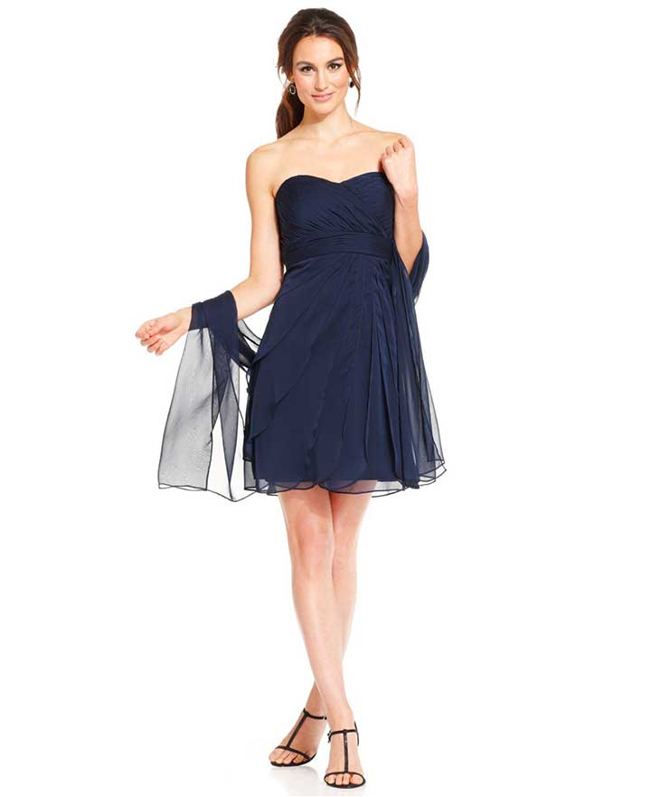 Adrianna Papell Strapless Pleated Dress And Shawl