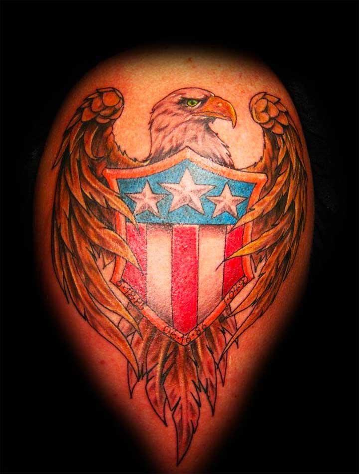 Bald Eagle and Crest Tattoo