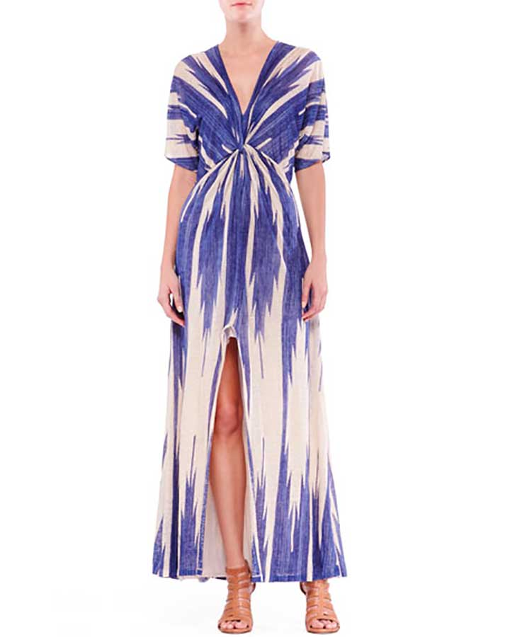 Black Label Suzanne Printed Linen Knot Maxi Dress