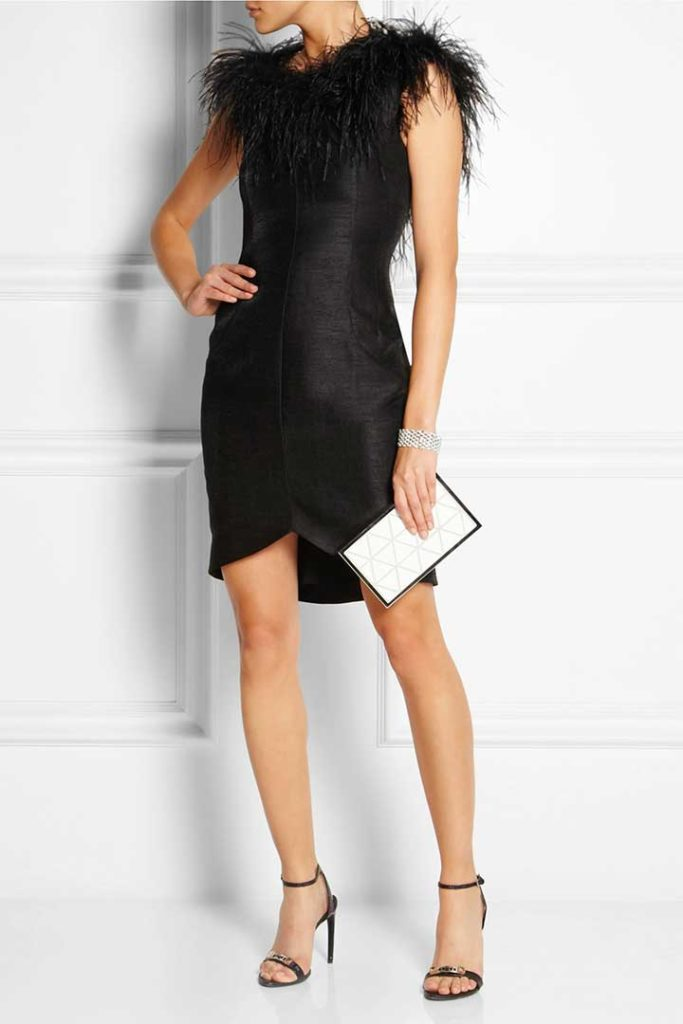 Kate Moss For Top Shop Feather-Trimmed Slub Dupion Mini Dress
