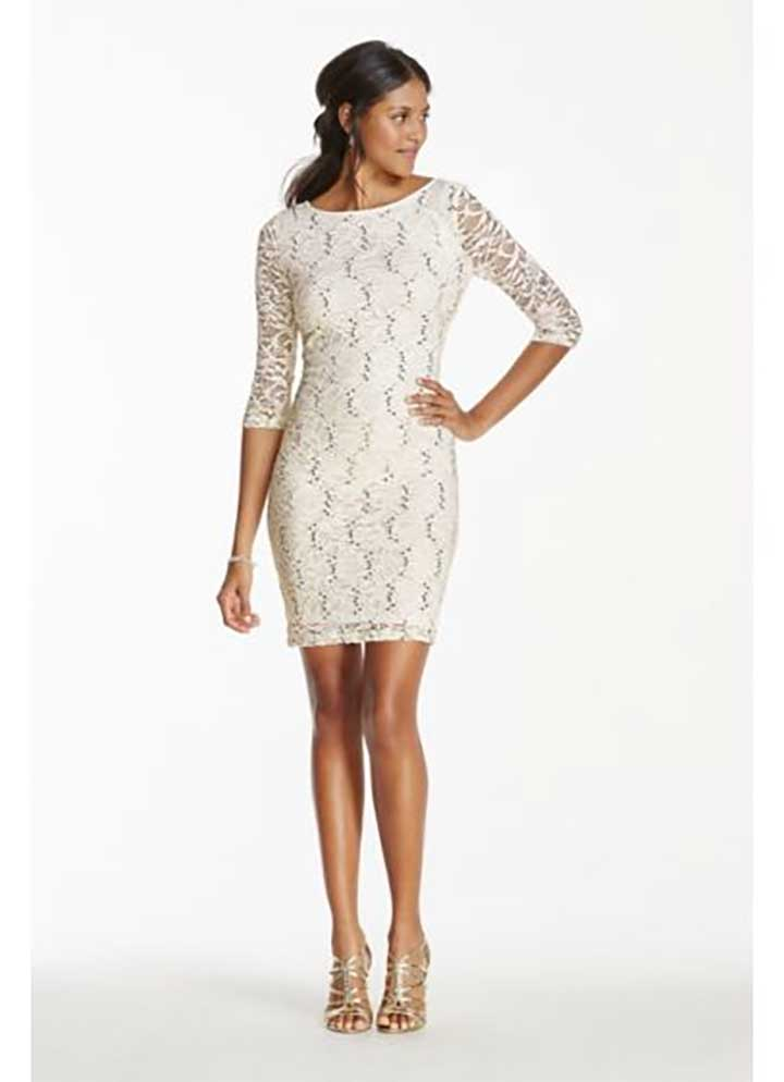 Long Sleeve Short Lace Dress With Sequins