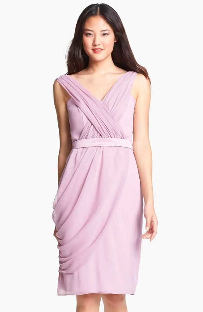 ML Lela Rose Bridesmaid Draped Chiffon Dress