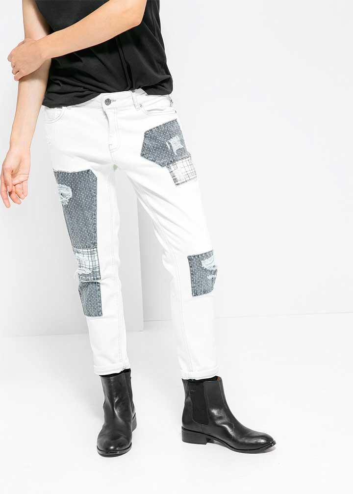 Mango Boyfriend Patchy Jeans