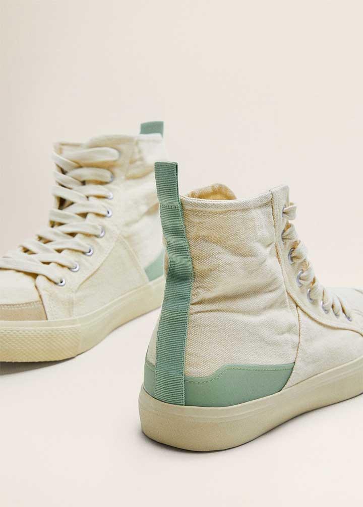 Mango Leather Panel Sneakers