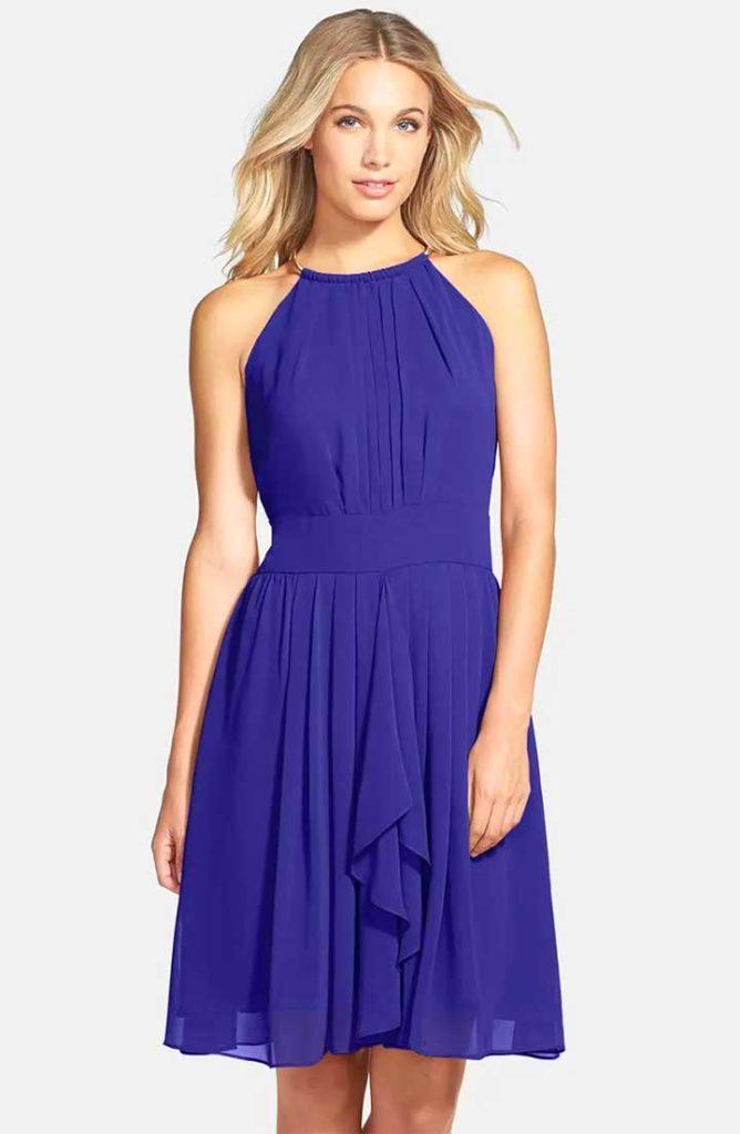 Pleated Chiffon Fit & Flare Dress