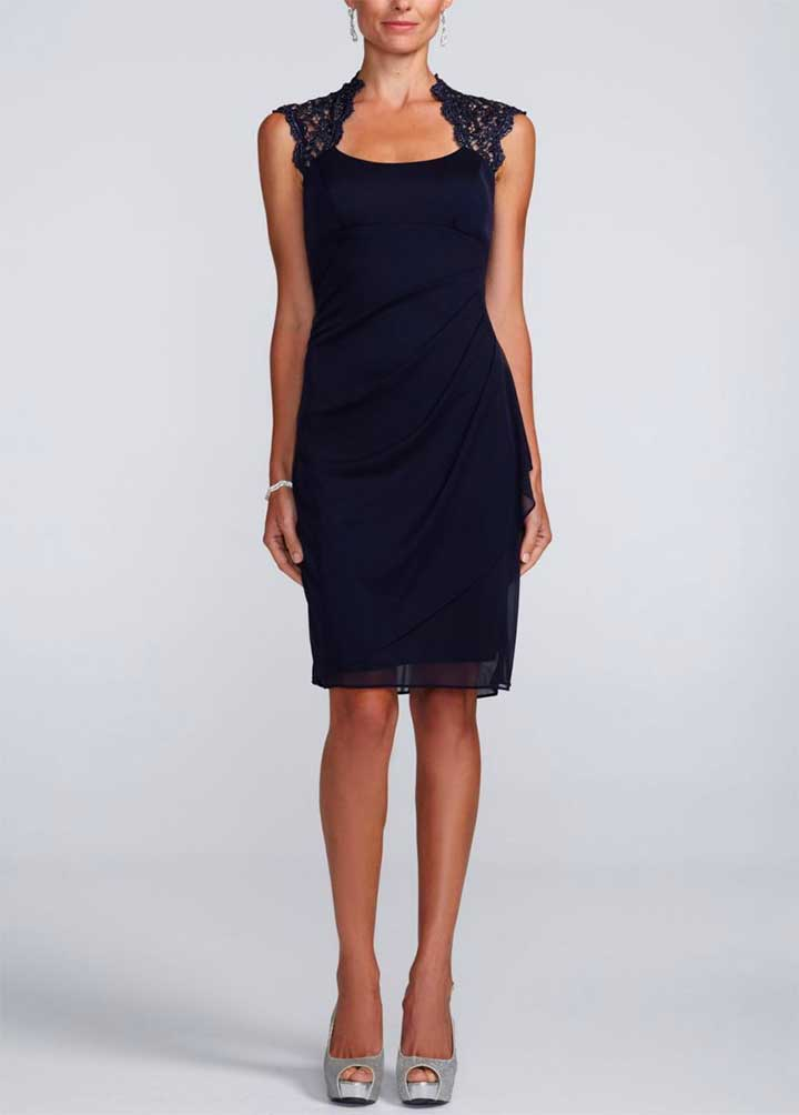 Short Sheer Matte Jersey Dress With Lace Back