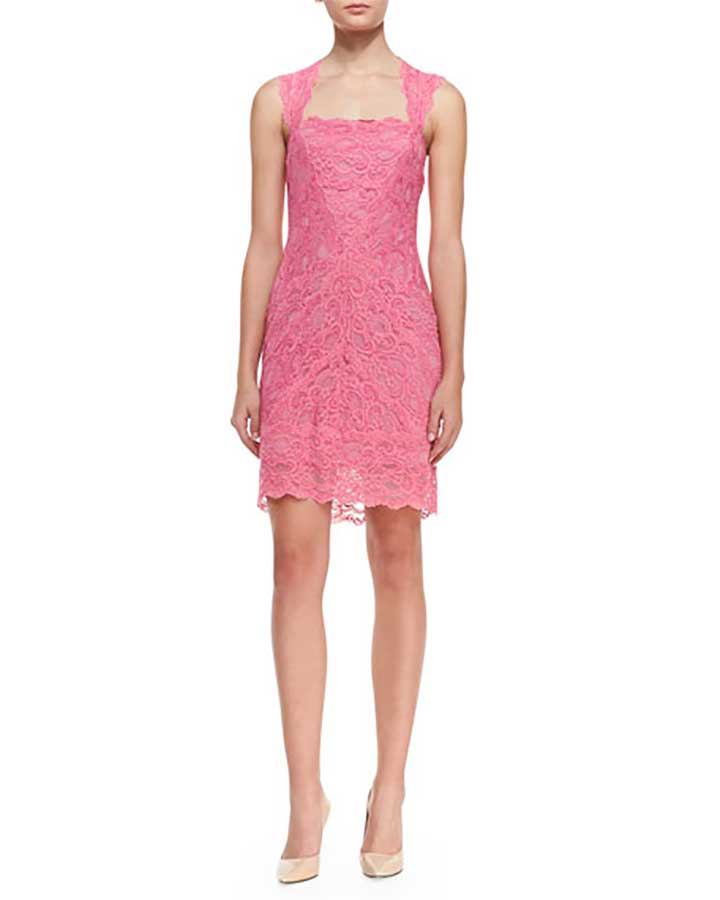 Sleeveless Square-Neck Lace Cocktail Dress, Pink