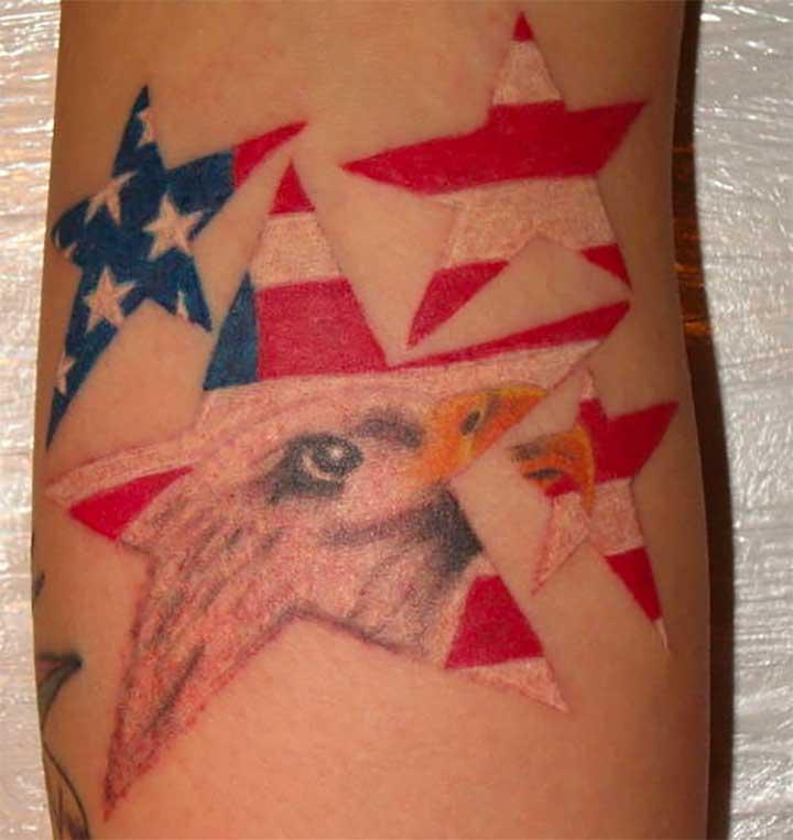 Stars and Birds Patriotic Tattoos