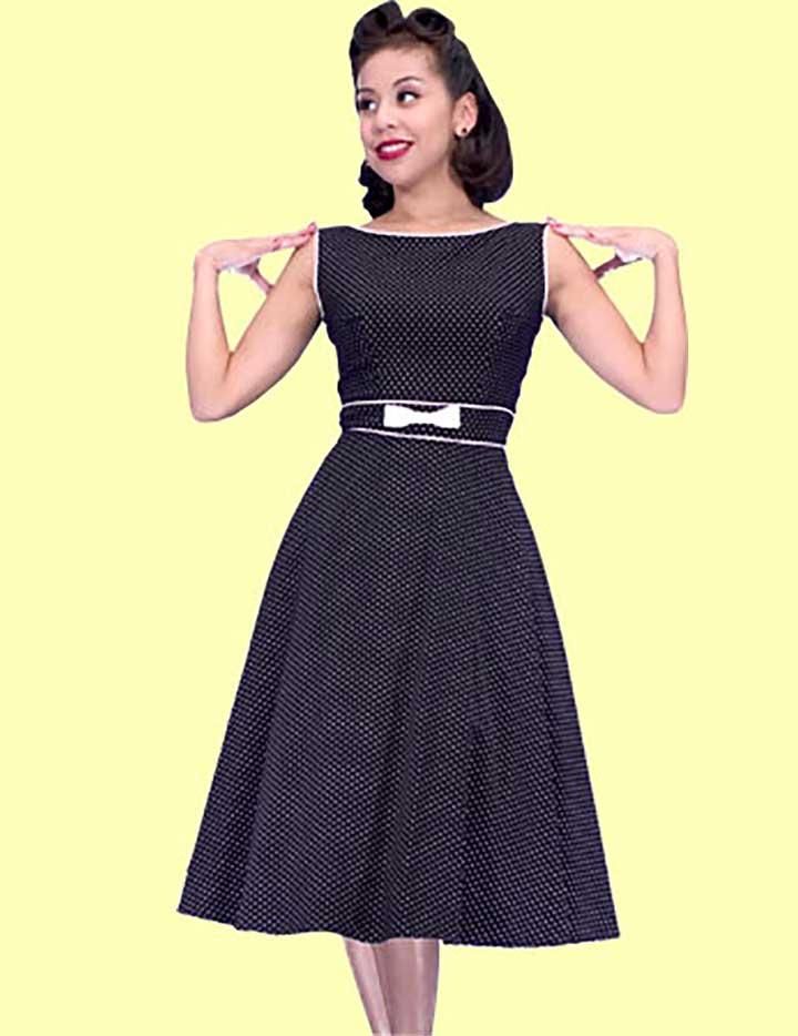 Stop Staring Black & White Polka Dot Boat Neck Swing Dress