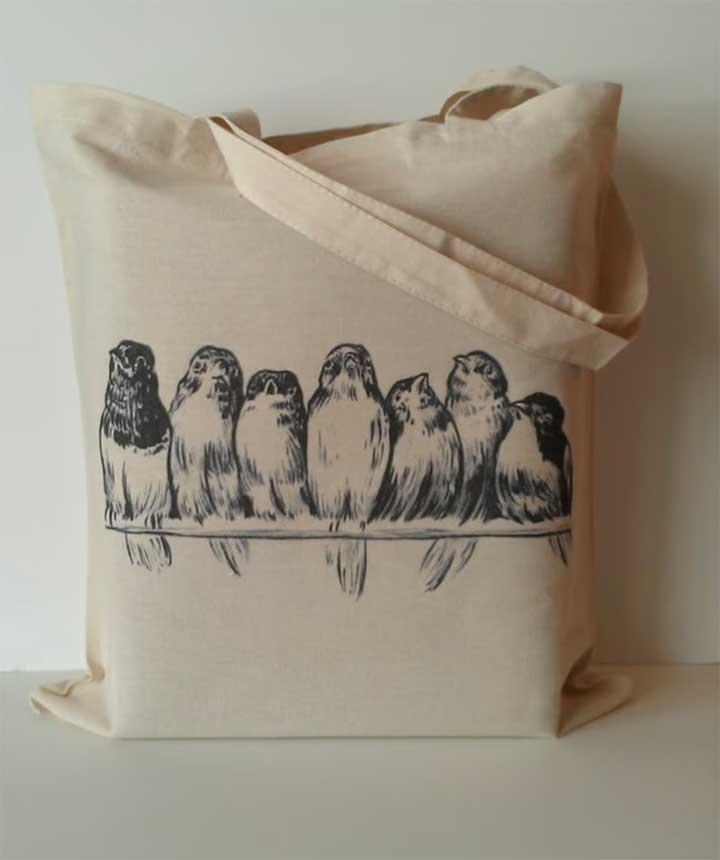 Vintage Birds on Wire Tote Bag Eco friendly