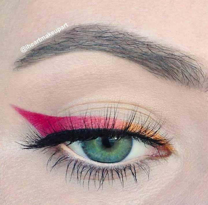 Yellow To Red Cat Eye Eyeliner