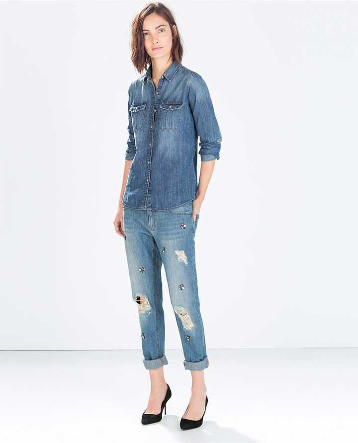 Zara Jeweled Boyfriend Jeans
