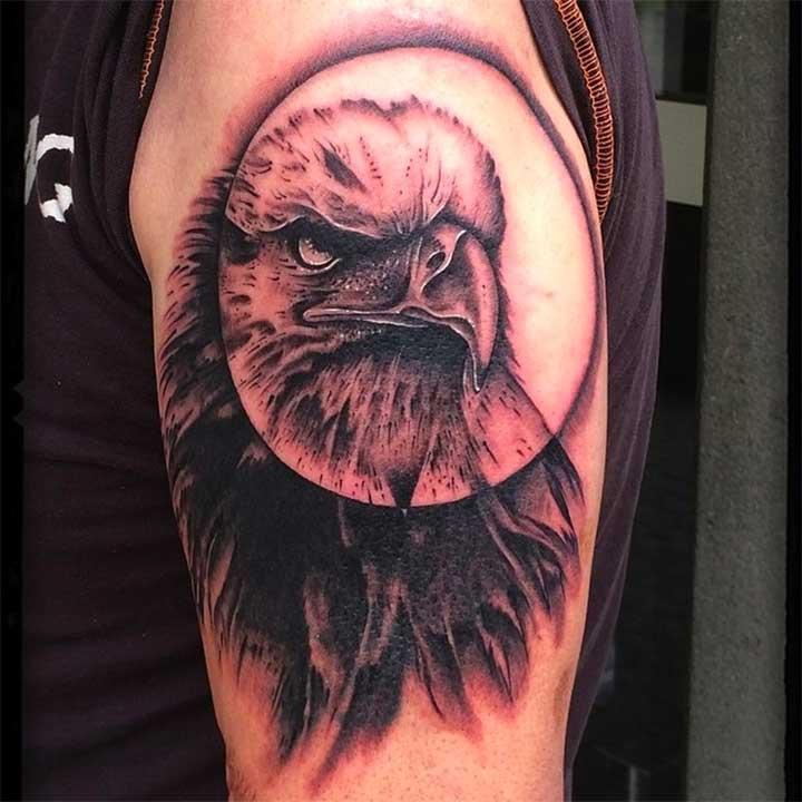eagle in a circle tattoo