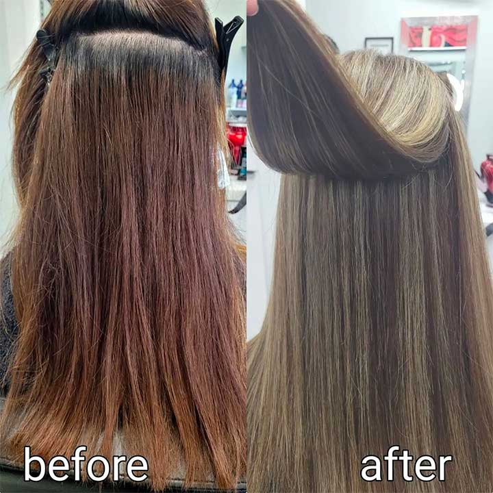 Partial vs full highlights blonde - before and after photos