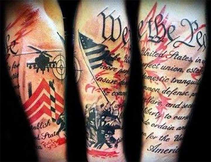 patriotic forearm sleeve tattoos
