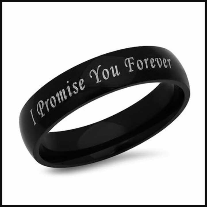 I promise forever steel black customized ring
