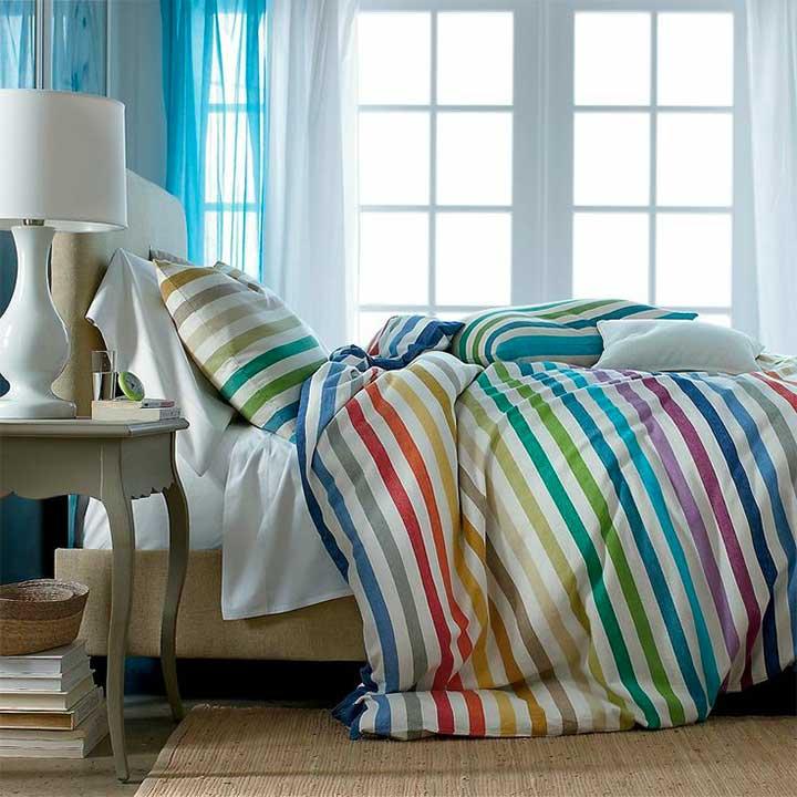 rainbow striped bedding set