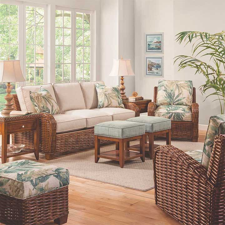 Rattan sofa indoor vintage