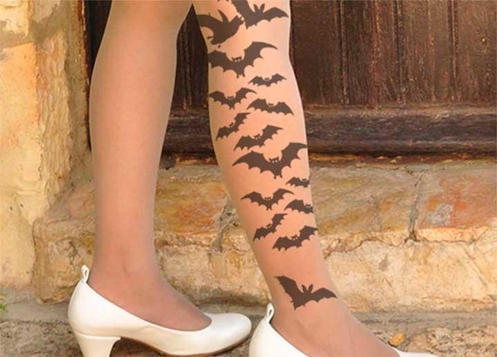 sheer bat tights
