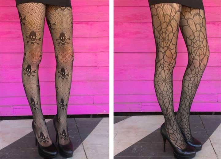 spiderweb and skull tights