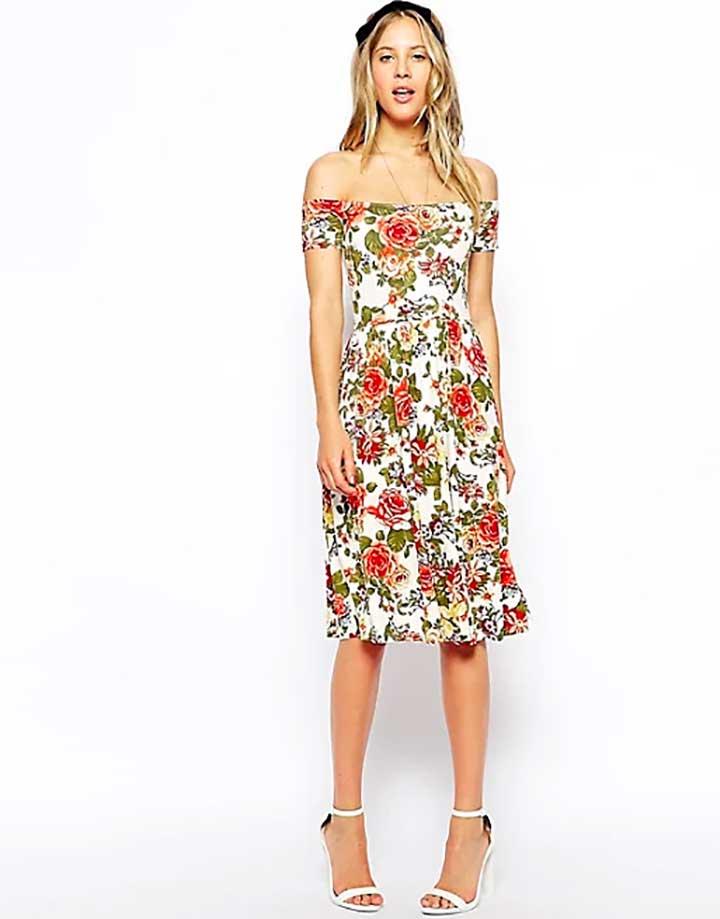 ASOS Bardot Skater Dress in Pretty Floral