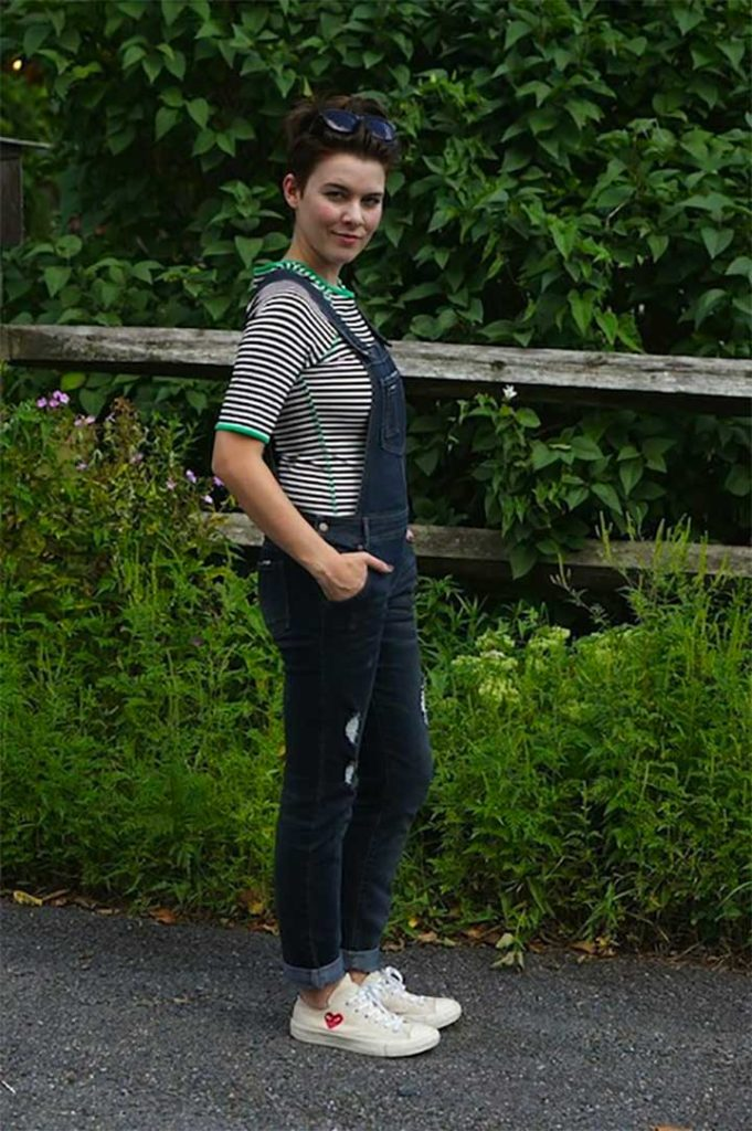 striped T-shirt and sneakers